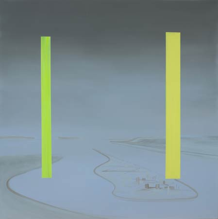 """Untitled (Mauve Landscape - Yellow Bars)"" Acrylic on Canvas, 2009 48 x 48 in"